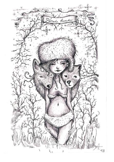female hunter print